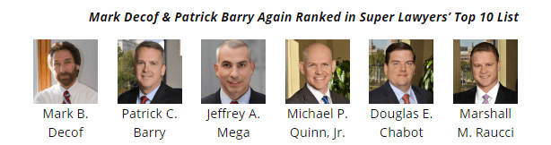 Decof Decof & Barry attorneys names to Super Lawyers Top 10 List